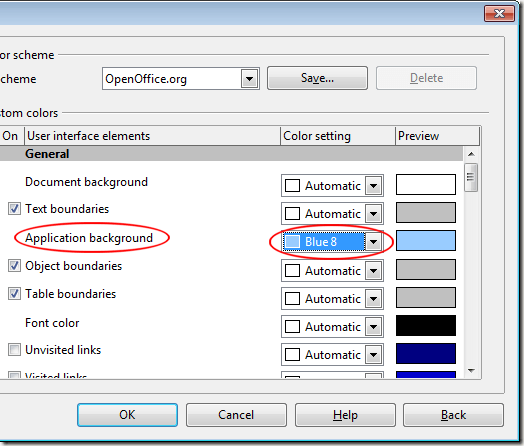 Change the Application Background in OpenOffice Writer