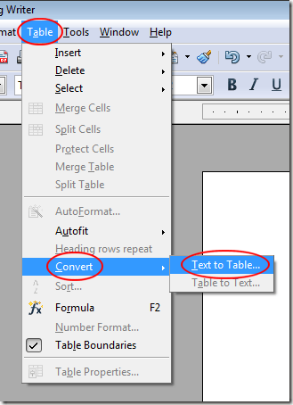 Convert Text to Table in OpenOffice Writer
