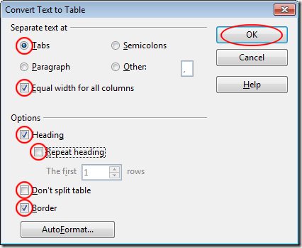 Convert text to Table Options