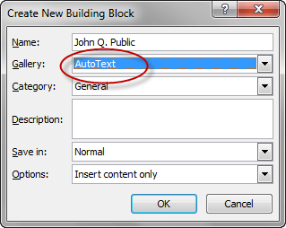 Create New Building Block - Auto Text