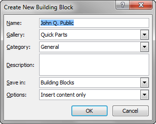 Create New Building Block PopUp
