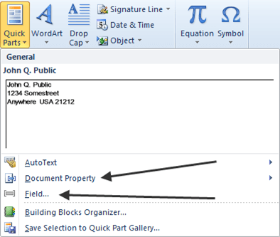 Document Property and Field Menu Choices