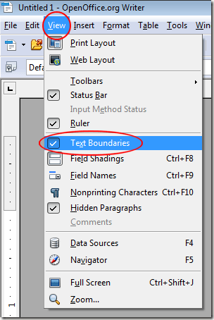 Hide Text Boundaries in OpenOffice Writer