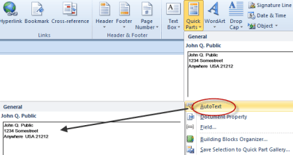 How to use AutoText and Quick Parts in MS Word
