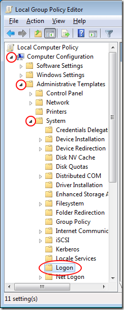 Logon Folder in Local Group Policy Editor