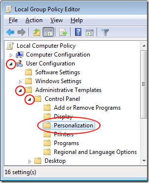Open Personalization Folder in Local Group Policy Editor