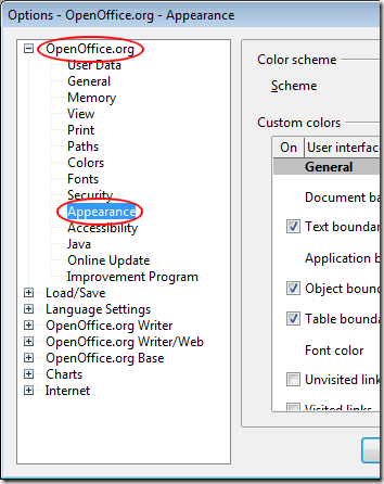 OpenOffice Writer Appearance Options