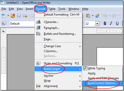 OpenOffice Writer AutoCorrect Options