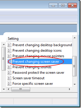 Prevent Changing Screen Saver in Windows 7