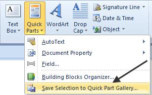 Quick Parts Icon DropDown