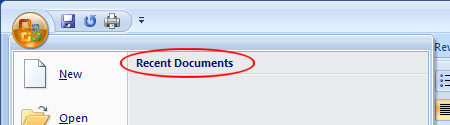 how to clear recently opened in word