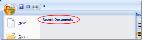 Recently Opened Documents in Word