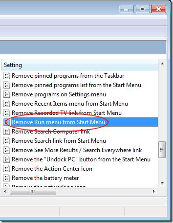Remove Run Menu from Start Menu