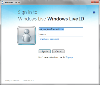 Sign in to Windows Live ID