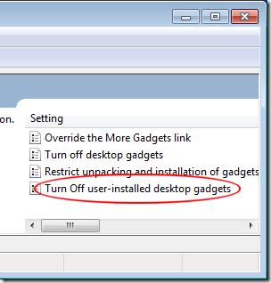 Turn Off User Installed Desktop Gadgets
