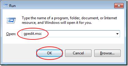 Windows 7 Run Dialogue Box