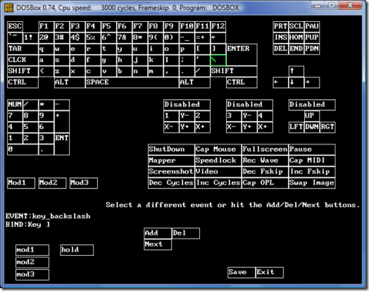 DOSBox Keyboard Map