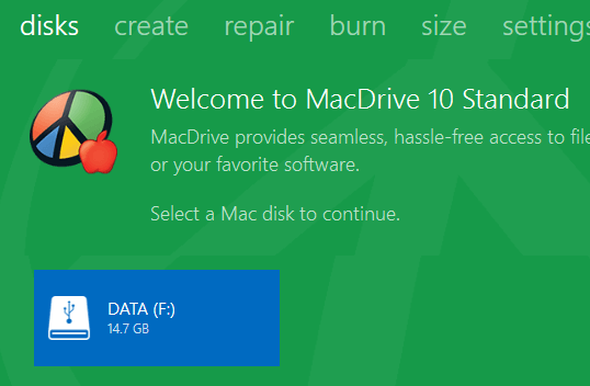 select mac disk