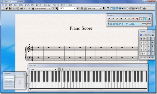 Sibelius 6 with Piano Keyboard