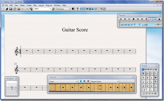 Sibelius 6 First with Guitar Fretboard
