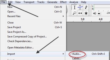 Import Audio File Menu Option