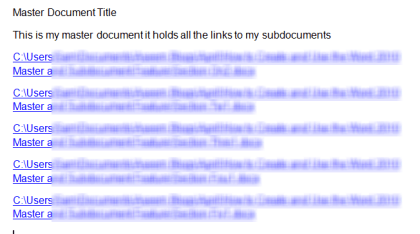 Master Document with links in it
