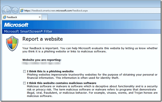 Report an Unsafe Website in Internet Explorer 9