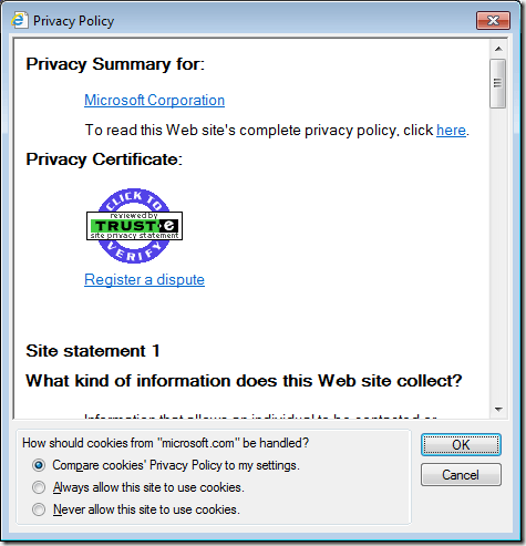 View a Website's Privacy Policy in Internet Explorer 9