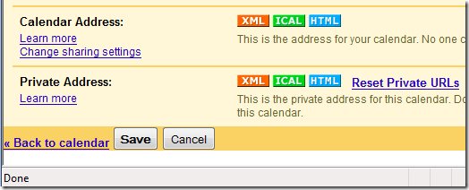 Google Calendar Private Address