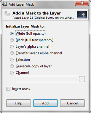 Add Layer Mask Popup