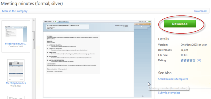 onenote 2010 page templates