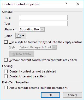 propriétés de contrôle de contenu