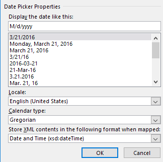 date picker properties