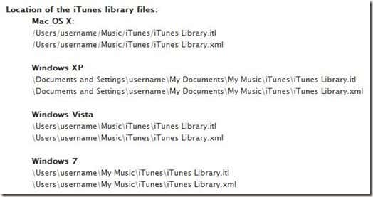 iTunes XML File Locations
