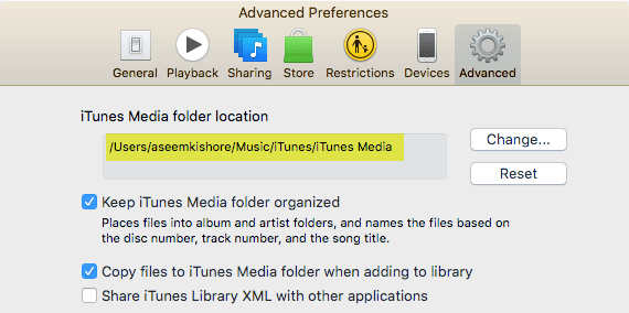 itunes preferences advanced