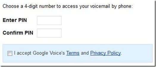 Google Voice Pin