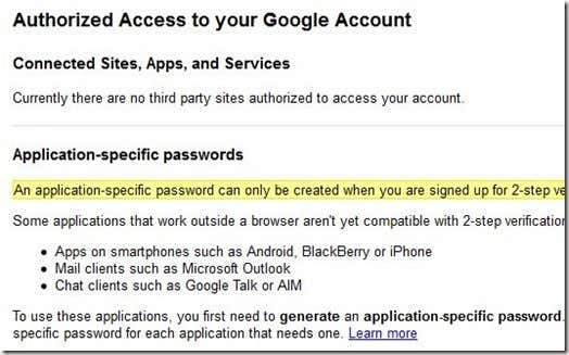 App specific passwords