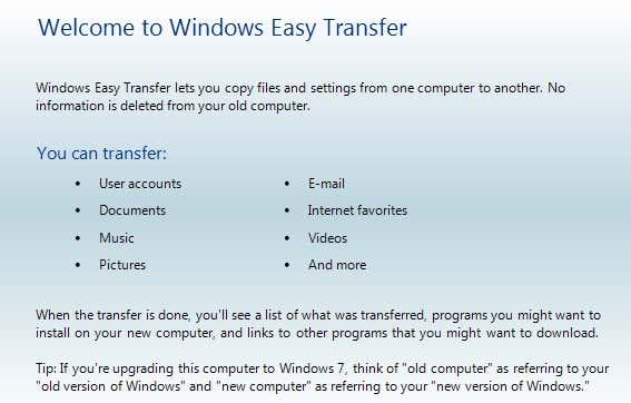 Transfer Files from Windows XP, Vista, 7 or 8 to Windows 10 using