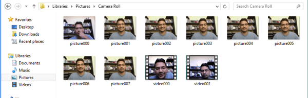 camera roll windows 8