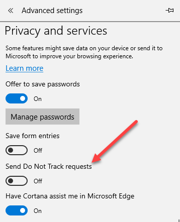 Enable Do Not Track and Tracking Protection in IE 11 and Edge