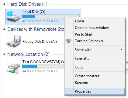 how to check the hard drive size