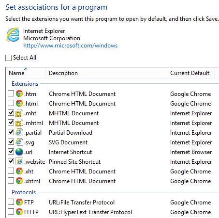 Change Default Web Browser in Windows 8