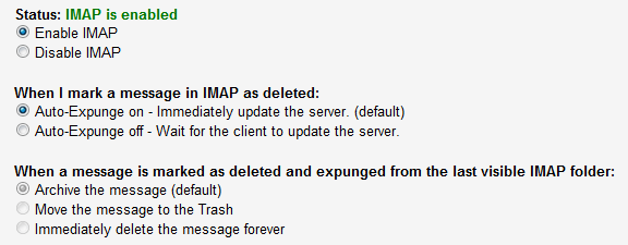 how to turn on impap and pop for iinet