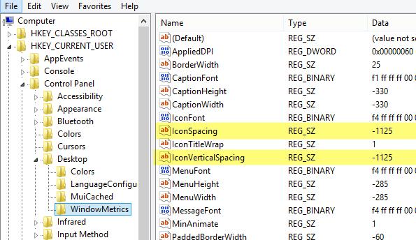 Change Desktop Icon Spacing in Windows 10