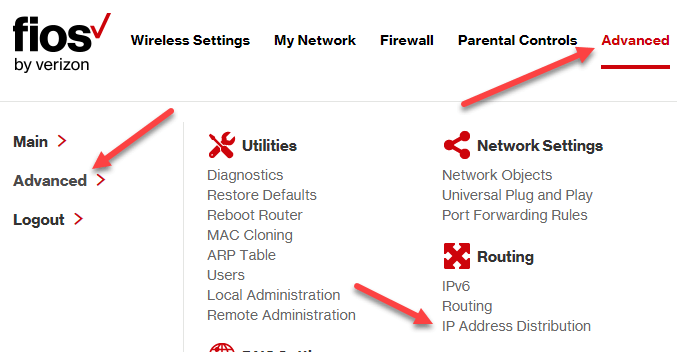 Fios router ip address