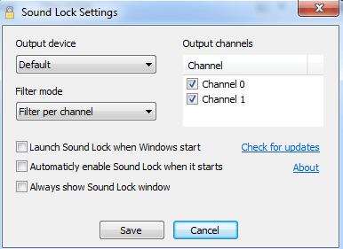 el sonido de los ajustes de bloqueo