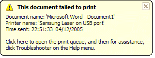 document failed to print