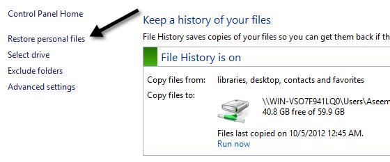 restaurar archivos personales