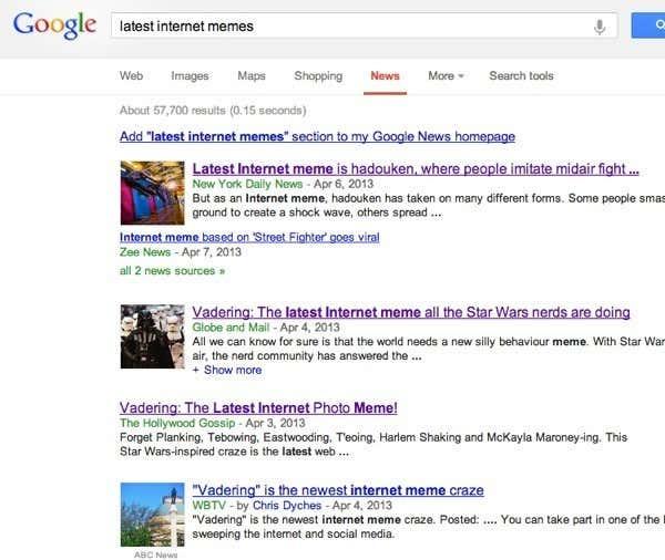 Google news memes
