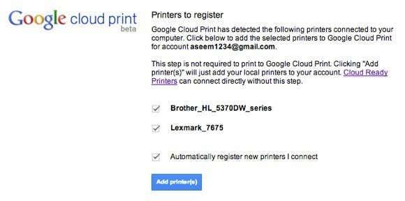 Add printers chrome